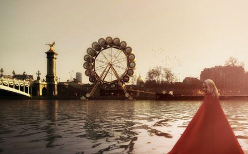 """法国建筑师巴尔比耶和德拉曼,计划于塞纳河畔打造一个""""水车胶囊旅馆""""。"""