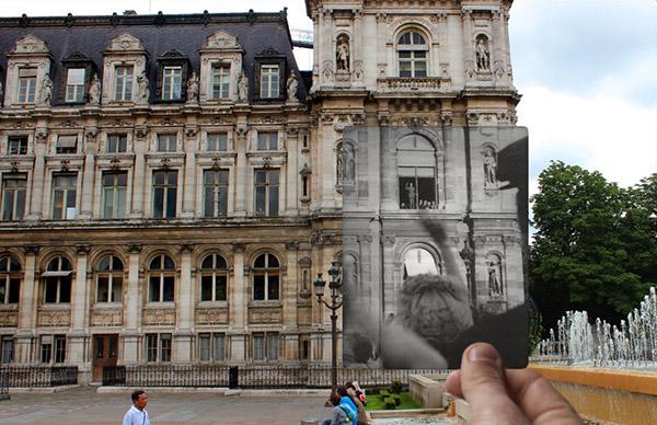 戴高乐站在巴黎第四区的市政厅窗户旁边向人群挥手示意。1357年以后,这里一直都是巴黎市长办公的地方,此后一直是市长的大型会客厅。