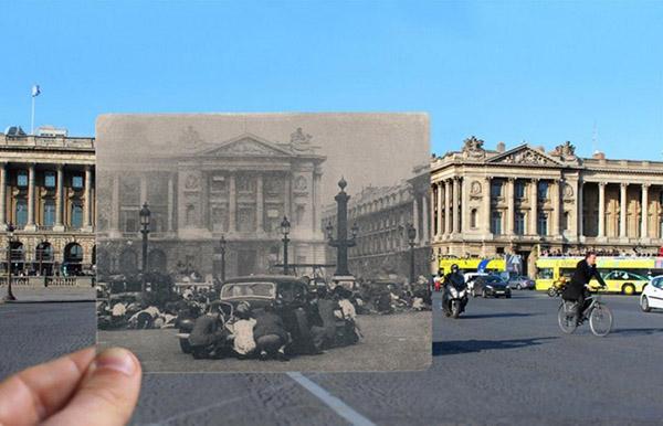 二战期间,人们躲在协和广场的车子后面。这里也是法国大革命时,著名的断头台所在地。