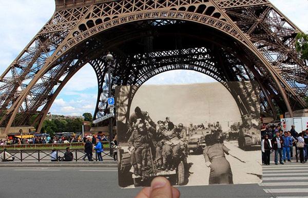 1940年,德军占领巴黎,坦克军穿过埃菲尔铁塔。现在占领它的是游客。