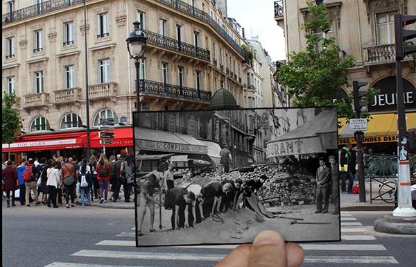 1940年代,人们在修路,看上去把地皮给掀了起来。今天,圣米歇尔街道两旁布满了商店和餐馆,游人如织。