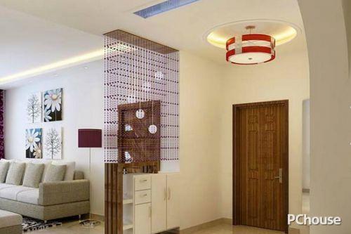 客厅珠帘隔断效果图1 进门玄关处以吧台作为客厅隔断,这样的一个效果