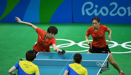 中国乒乓球女队在比赛中(资料图)