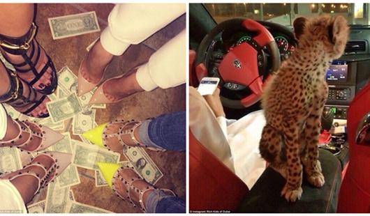 迪拜富二代疯狂炫耀:脚踩钞票 出门带猎豹