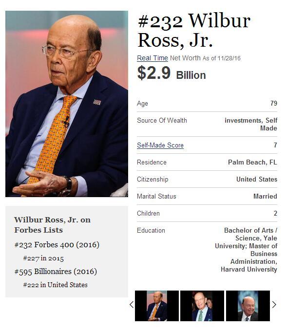 史上最壕内阁上线!特朗普政府身价或达350亿美元
