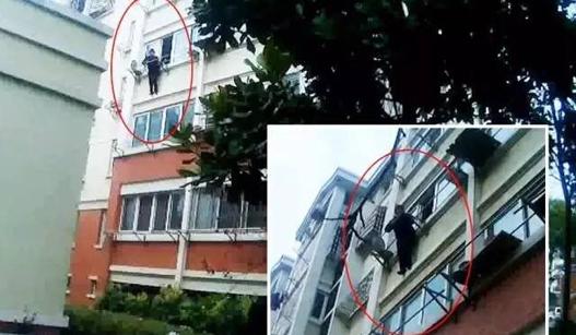 老人被反锁家中 爬出窗外不幸卡在阳台