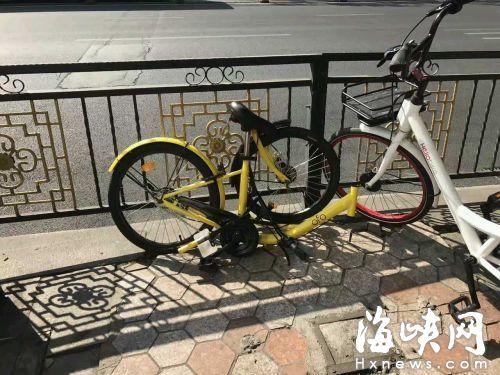 许先生在蒙古营附近看到,一辆ofo单车车身断成两截。