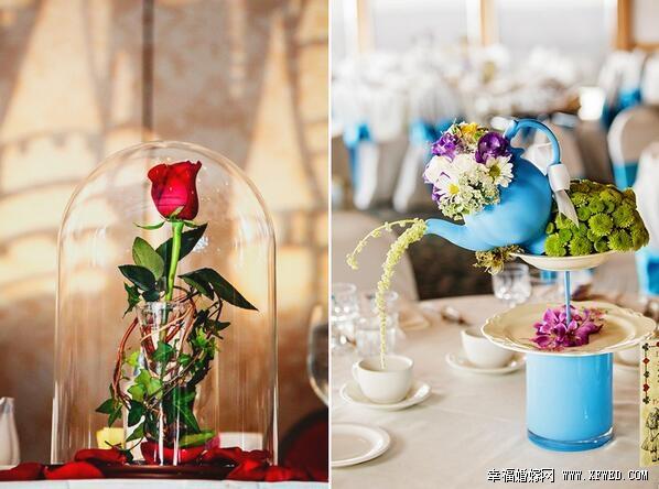 不用大量鲜花也�X笑�F一字一句道可打造梦幻婚礼 省开效用销的时尚桌花