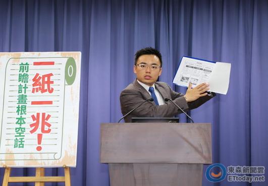 """国民党批蔡前瞻建设乱""""撒钱"""" 两张纸花一万亿"""