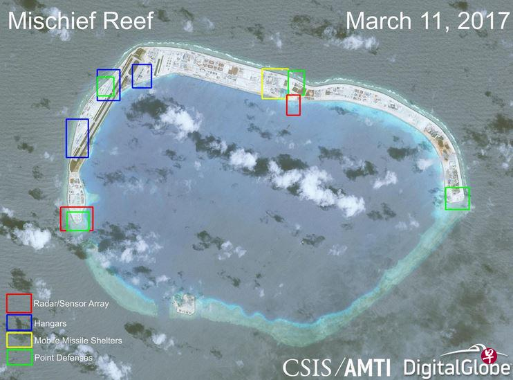 南海局�葑钚虑�r 美智�欤褐��在南海三大�u礁�事�O施全面完工