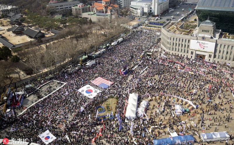 朴槿惠最新消息 韩朴槿惠支持者抗议总统弹劾