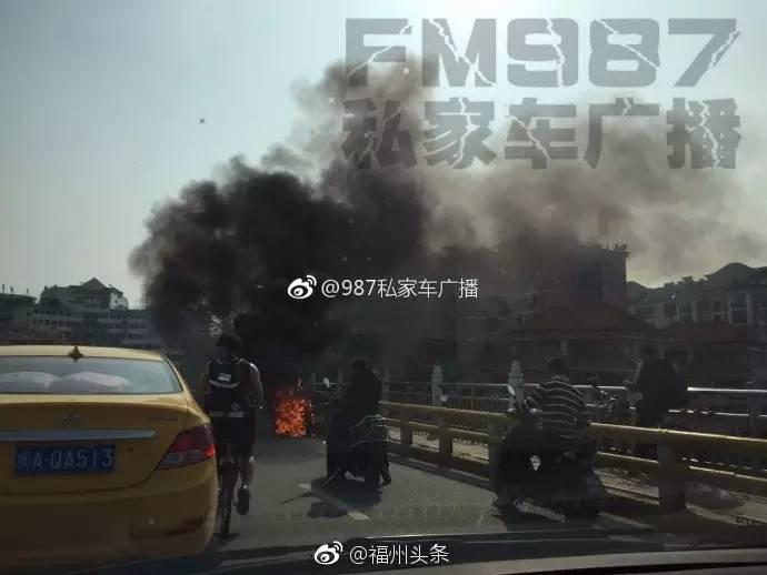 洪山桥电动车自燃 熊熊大火后剩一堆灰