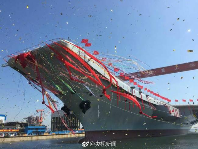 首艘国产航母今天上午正式下水 现场直播见证历史时刻