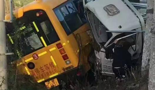 幼儿园校车与货车惨烈相撞 多名幼儿受伤