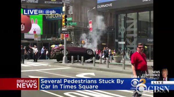 美国纽约时代广场发生汽车撞人致1死22伤 现场图曝光凶手被捕