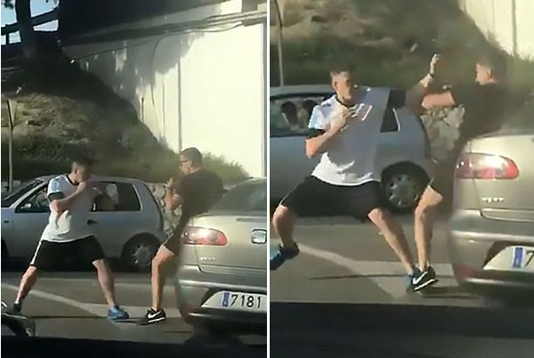 """两位""""路怒""""司机上演全武行 动作滑稽引关注"""