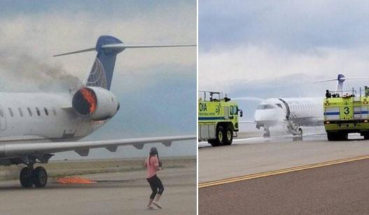 美联航客机引擎冒火燃烧