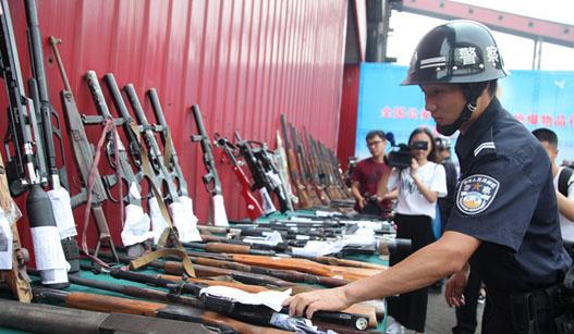 陕西公安深入开展缉枪治爆行动 集中销毁枪械12241支