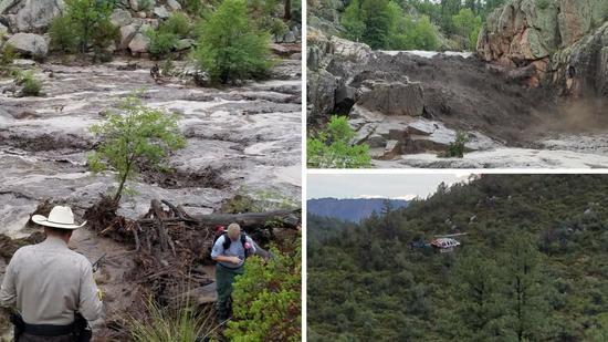 美国亚利桑那州山洪暴发 将14人卷入河中已有8人死亡