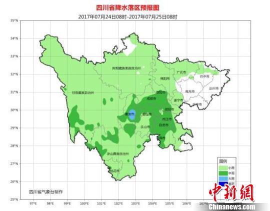 四川省降水落区预报图。四川省气象台