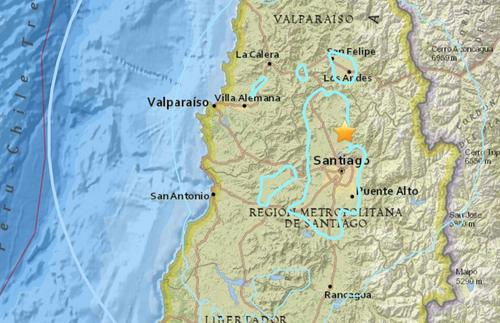 智利中部发生5.5级地震 震中距圣地亚哥27.5公里