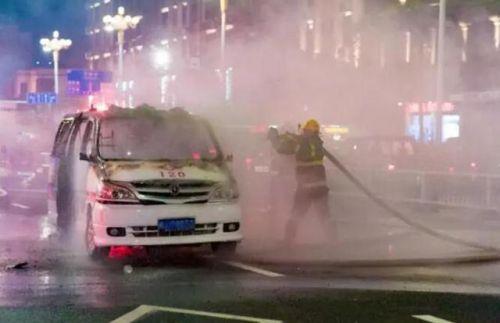 平潭救护车自燃烧成壳幸未有人员伤亡 原因仍在调查