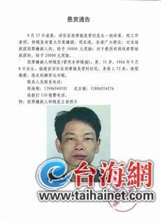 漳州一男一女遭杀害 警方悬赏5万元缉拿在逃嫌犯