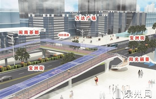 泉州宝洲街人行天桥即将动工 施工路段已建起围挡
