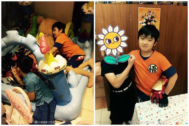 吴镇宇为儿子庆祝9岁生日,爱妻王丽萍罕见出镜