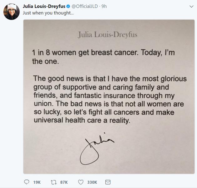 《副总统》女主患乳腺癌仍行善 希拉里发文支持
