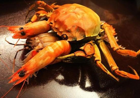 林更新摆弄螃蟹和虾神造型自称艺术家 网友笑喷
