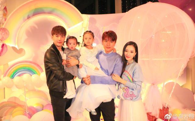 高云翔带女儿为甜馨庆祝5周岁生日,五个人好有爱,独缺一个人