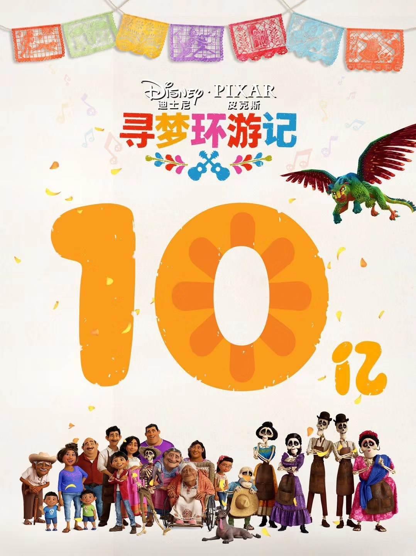 官方发图庆祝《寻梦环游记》票房内地破10亿