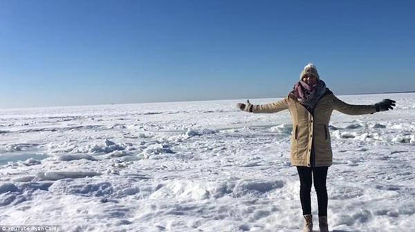 美马萨诸塞州气温骤降大海被冻住 宛如波浪玉带
