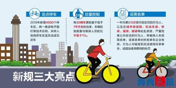 厦门出台共享单车管理新规 多项管理细则计划今年推出
