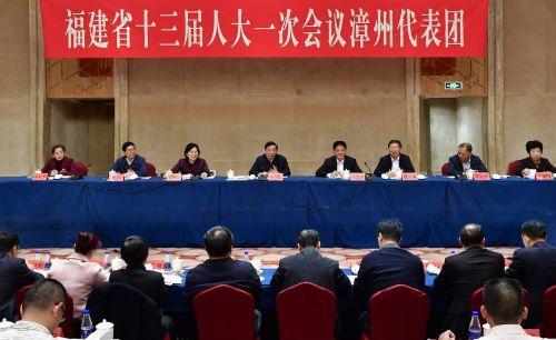 于伟国参加省十三届人大一次会议漳州、福州代表团审议