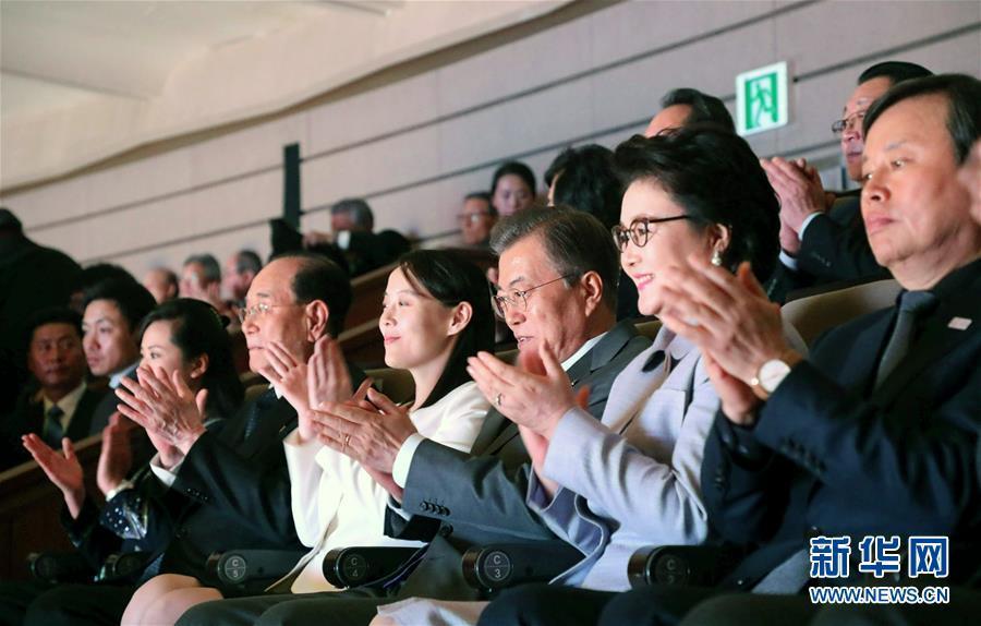 2月11日,在韩国首尔,韩国总统文在寅(右三)与朝鲜最高人民会议常任委员会委员长金永南(右五)和朝鲜劳动党中央委员会第一副部长金与正(右四)共同观看演出。  韩国总统文在寅11日在首尔国立剧场与到访的朝鲜高级别代表团一同观看了朝鲜艺术团在韩国举行的第二场演出。  新华社/纽西斯通讯社