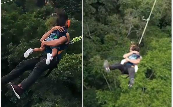 惊心动魄!马来西亚男子携2岁幼女60米高空蹦极