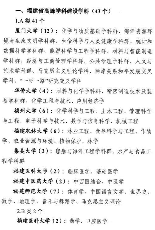 """快讯!福建省发布""""双一流""""建设高校及建设学科名单"""