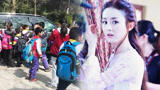 赵丽颖拍戏遇小学生春游