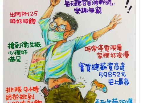 台当局称台湾幸福度亚洲第一 台漫画家列8幸福反讽