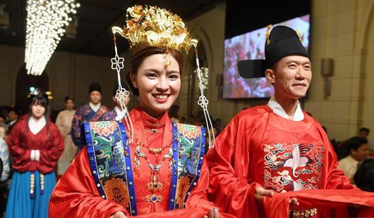 台湾桃园:汉服婚礼展示中华传统文化