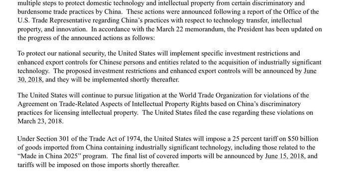 将对华500亿美元商品征25%关税 6月15日公布
