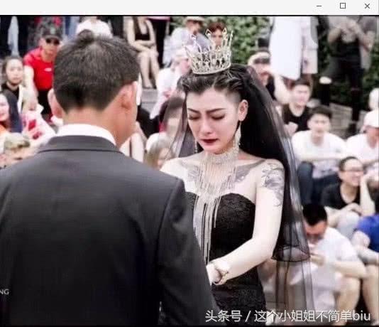 抖音黑色婚纱新娘是谁 最霸气新娘花臂和黑色的婚纱太美了