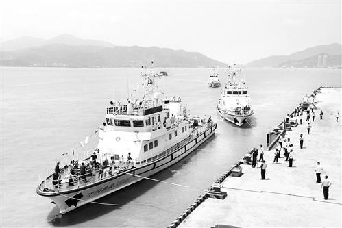 """福建省海上执法再添""""利剑"""" 新增3艘300吨级渔政执法船"""