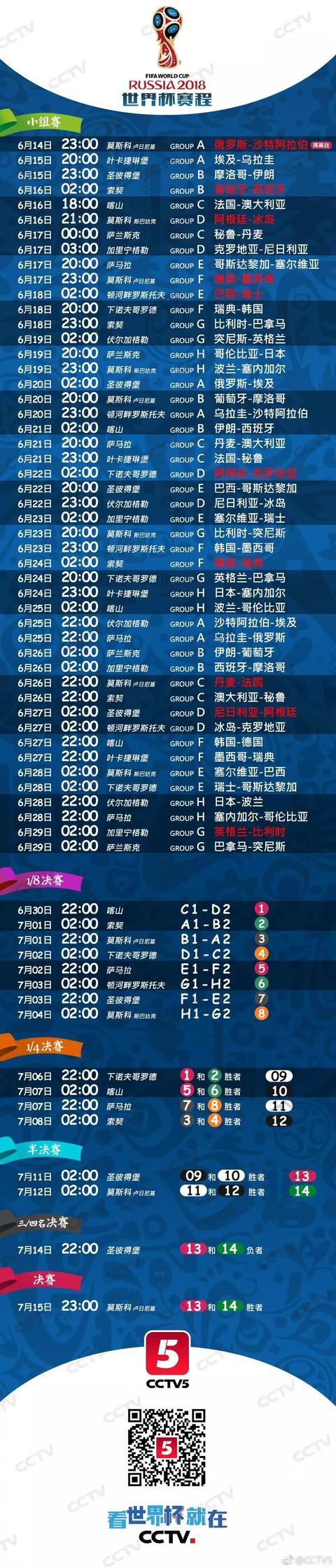 世界杯节目表!世界杯来了,要熬夜了吗?