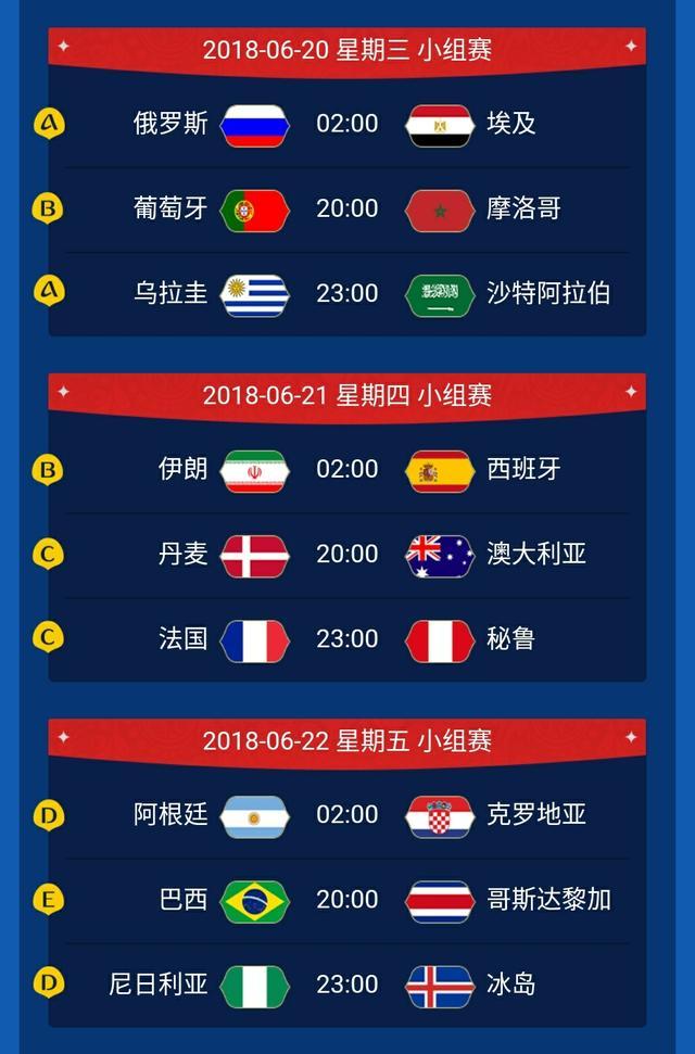 2018俄罗斯世界杯北京时间完整赛程表 揭幕战