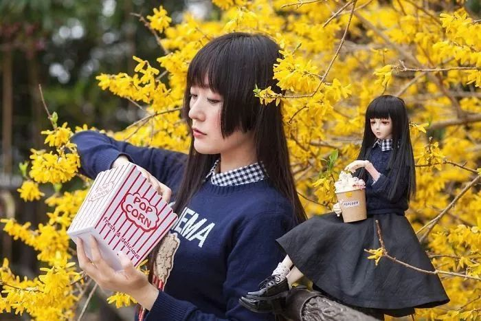 日本少女模特将自己打扮成SD娃娃,大小同框超萌