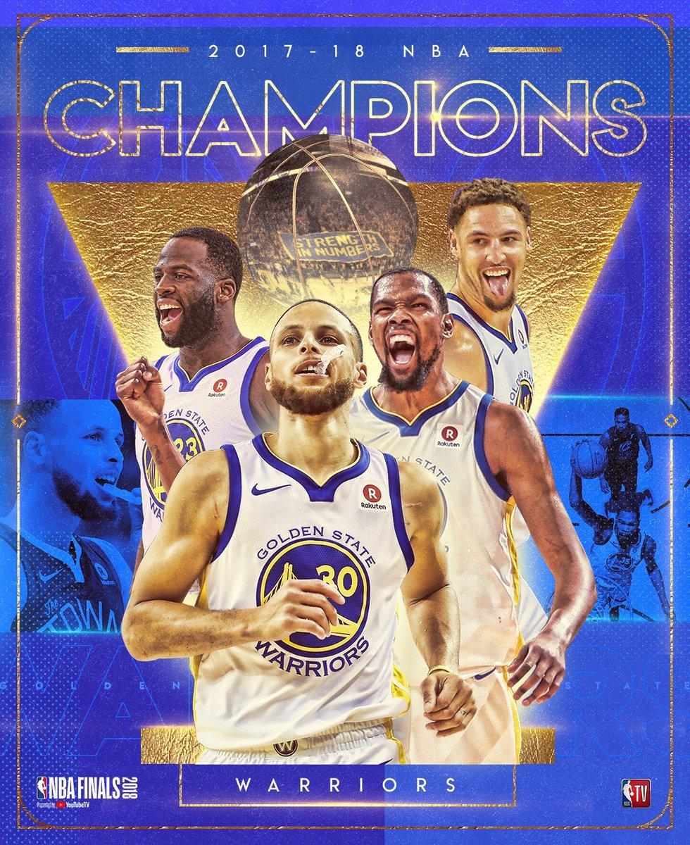NBA总决赛:勇士4-0横扫骑士4年3冠 库里37分杜兰特斩三双