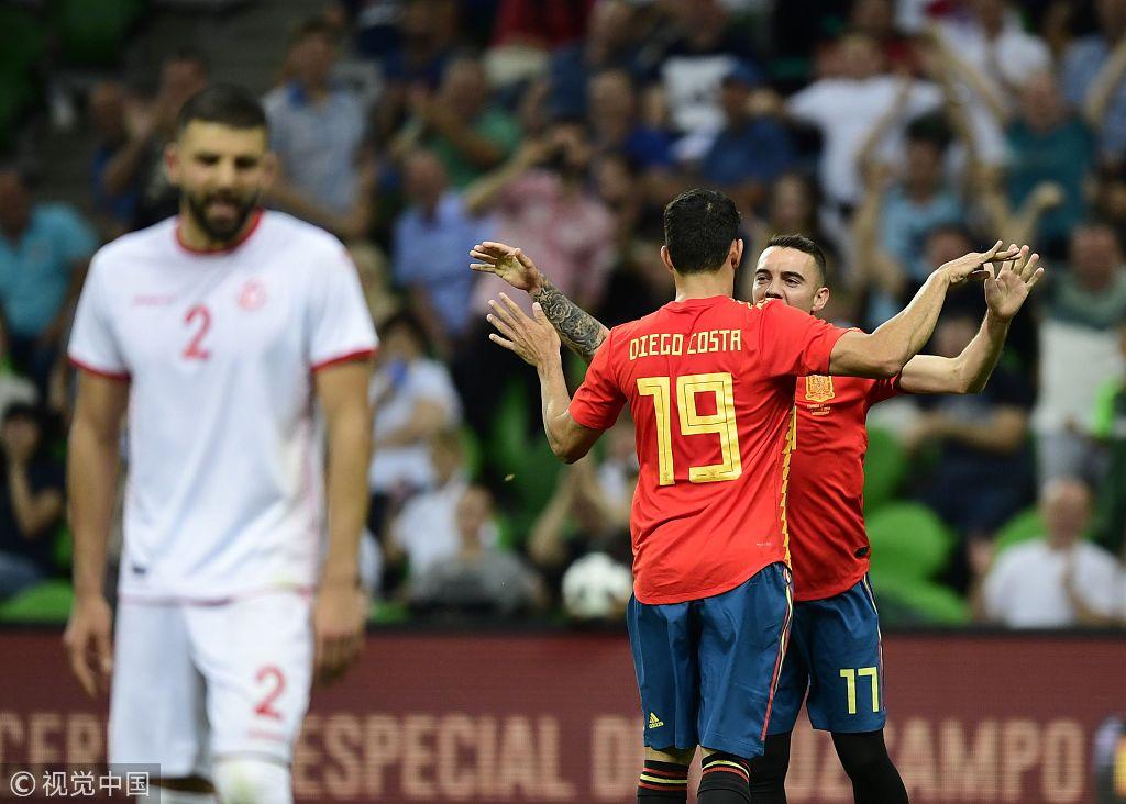 世界杯热身赛:科斯塔助攻阿斯帕斯进球 西班牙1-0突尼斯
